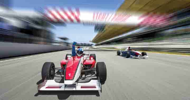 Image of racing car on tracks to represent Carter Racing.