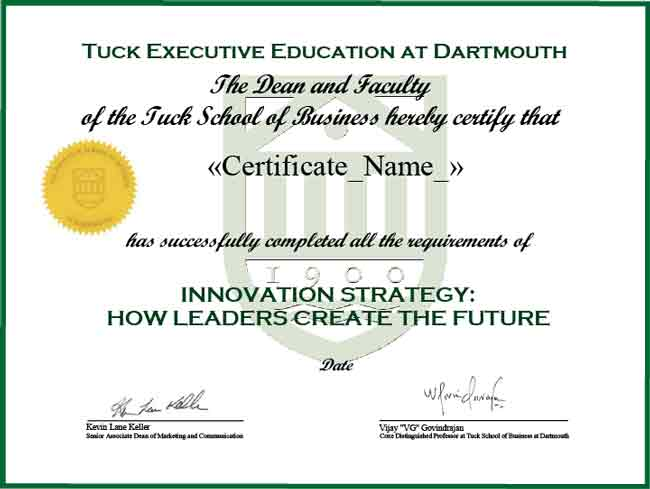 Example certificate that will be awarded after successful completion of this program