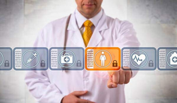 Image of a doctor accessing health data on an interactive screen to portray the healthcare industry