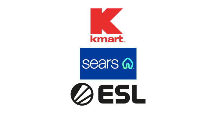 Logo for Kmart, Sears, and Esl