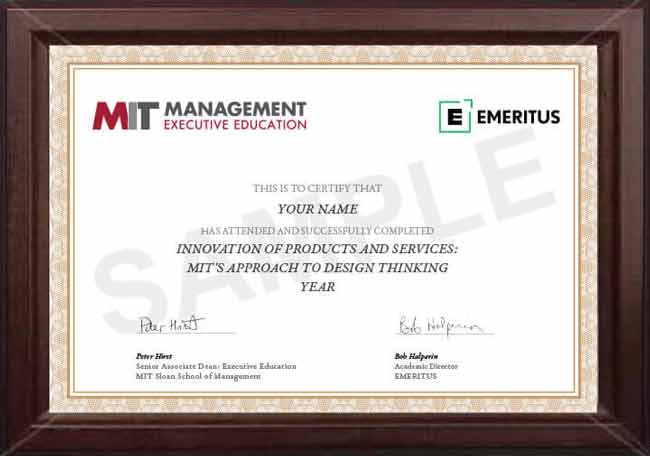 Sample certificate that will be awarded after successful completion of this program