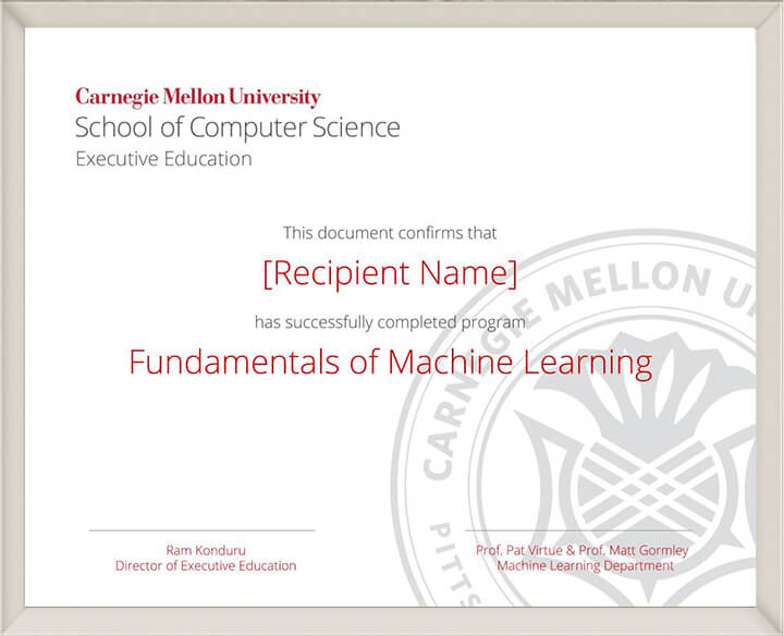 Example image of certificate that will be awarded once you successfully complete the course