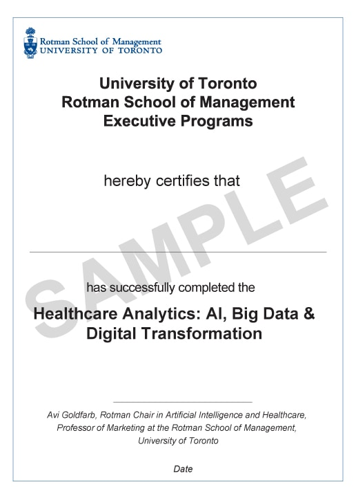 Example image of certificate that will be awarded upon successful completion of the programme