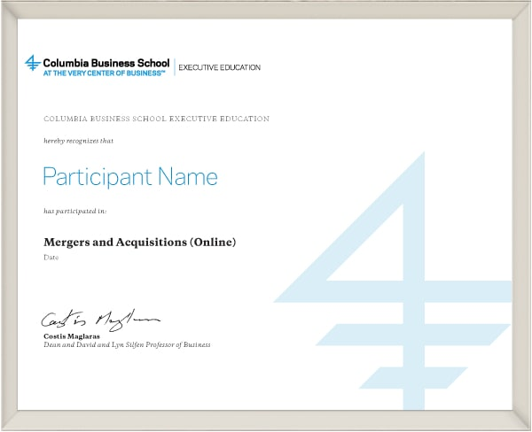 Example image of certificate of participation that will be awarded upon completetion of the program