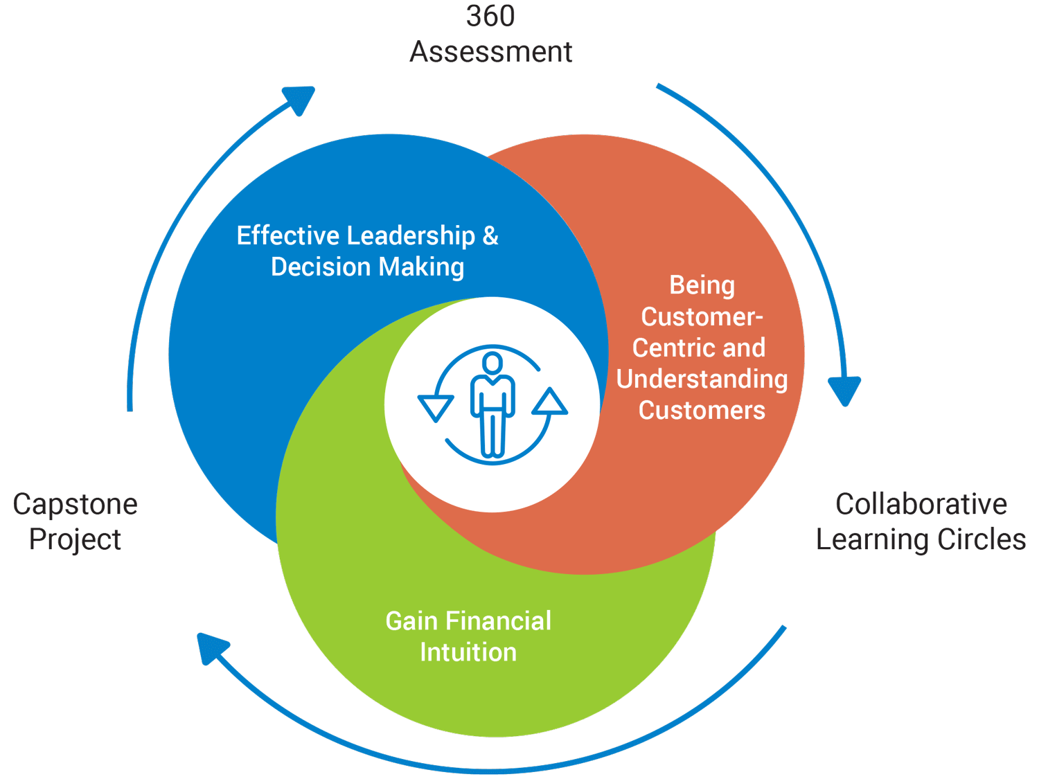 The Learning Journey explains the key three elements of 360 assesment, collaborative learning circles and a Capstone project. This also includes being consumer-centric, understanding customers, gaining financial intuition and effective leadership & decision making.